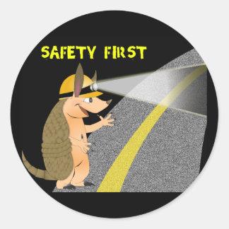 Armadillo Safety First Sticker