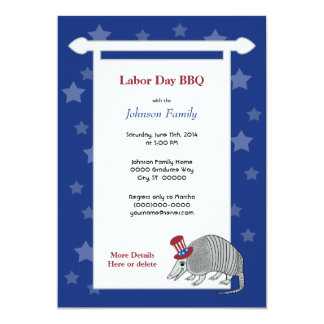 Armadillo Stars Labor Day July 4 Card