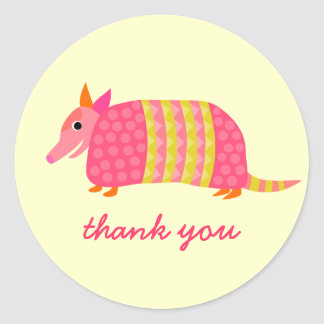 Armadillo Thank You sticker