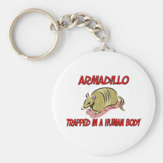 Armadillo trapped in a human body keychain