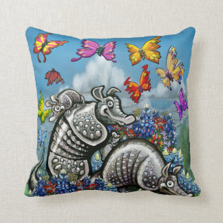 Armadillos Bluebonnets Butterflies Wildflowers Throw Pillow