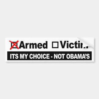 Armado o víctima - su mi opción no Obama - arma Pegatina Para Auto