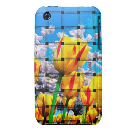 Armadura amarilla del tulipán iPhone 3 Case-Mate funda