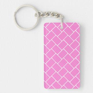 Armadura de cesta rosada bonita llavero rectangular acrílico a doble cara