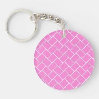 Armadura de cesta rosada bonita llavero redondo acrílico a doble cara