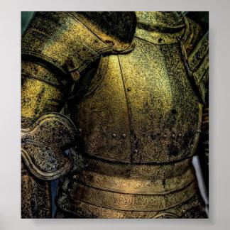 Armadura del caballero medieval posters