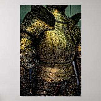 Armadura del caballero medieval póster