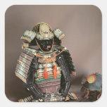 Armadura del samurai, período de Muromachi c.1384 Pegatina Cuadrada