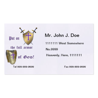 Armadura llena de dios tarjetas de visita