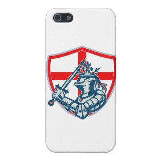 Armadura llena del caballero inglés con la espada iPhone 5 cárcasa