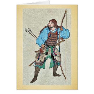 Armadura que lleva del samurai y llevar a cabo un tarjeta de felicitación