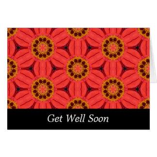 Armadura roja de la flor - consiga bien tarjeta de felicitación