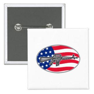 Armalite M-16 Colt AR-15 assault rifle flag Pinback Button
