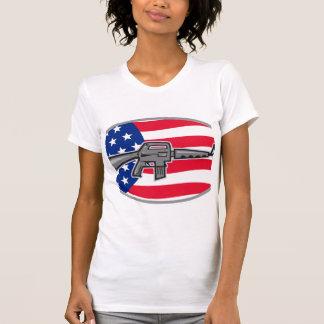 Armalite M-16 Colt AR-15 assault rifle flag Tshirt