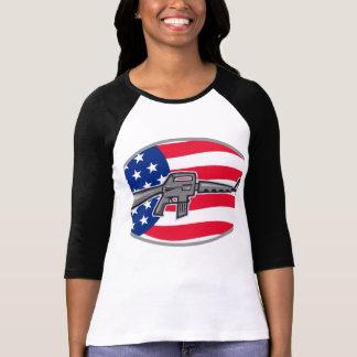 Armalite M-16 Colt AR-15 assault rifle flag T Shirts