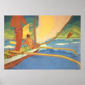 Arman Manookian - hombres en una canoa de soporte Póster