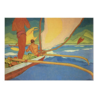 Arman Manookian—Men in an Outrigger Canoe Poster