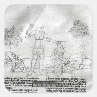 Armar a un caballero en un campo de batalla calcomanias cuadradas