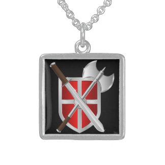 Armas cruzadas en el escudo pendiente personalizado
