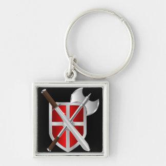 Armas cruzadas en el escudo llavero cuadrado plateado