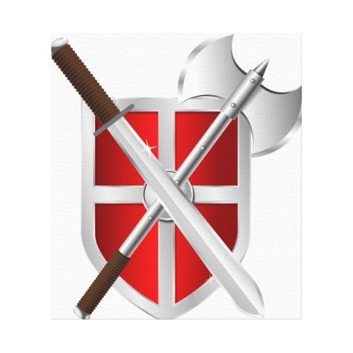 Armas cruzadas en el escudo lona estirada galerias