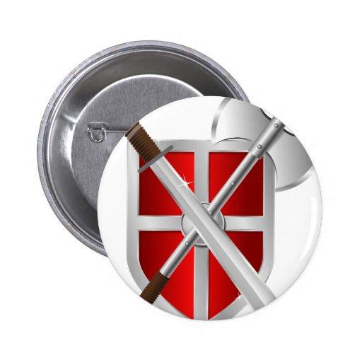 Armas cruzadas en el escudo pins