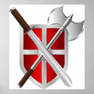 Armas cruzadas en el escudo póster