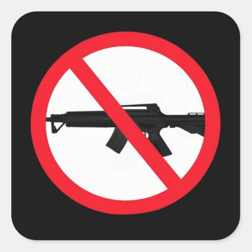 Armas de asalto de la prohibición calcomania cuadradas personalizadas