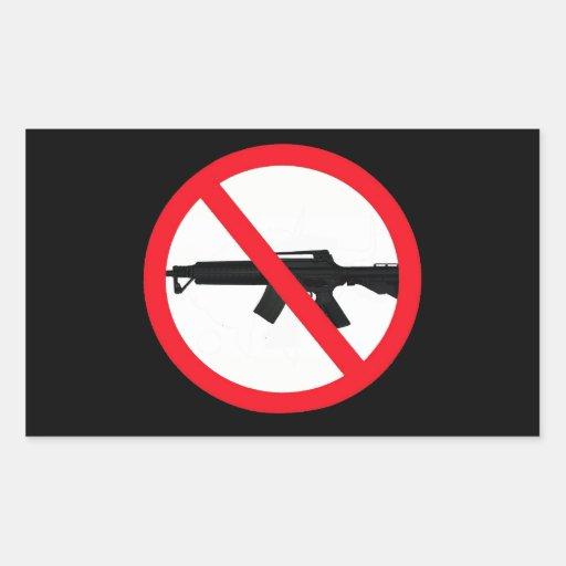 Armas de asalto de la prohibición pegatina rectangular