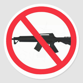 Armas de asalto de la prohibición pegatina redonda