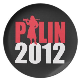 Armas de fuego de Sarah Palin blancas Plato De Comida