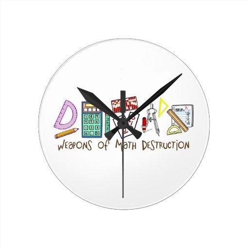 Armas de la destrucción de la matemáticas relojes de pared