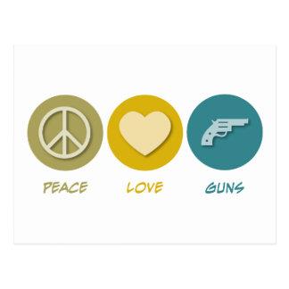 Armas del amor de la paz tarjetas postales