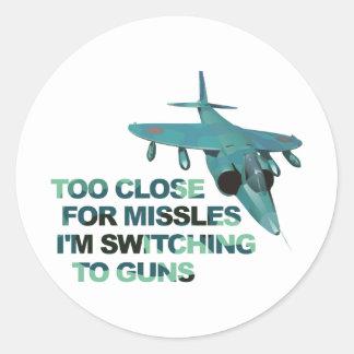 Armas del interruptor de los misiles pegatina redonda