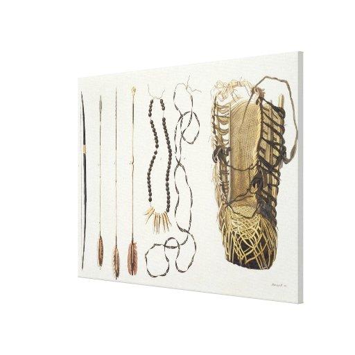 Armas, herramientas y joyería de Puri y de Botocud Impresiones De Lienzo