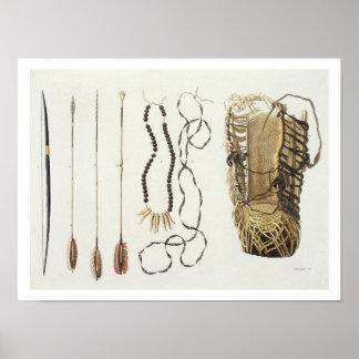 Armas, herramientas y joyería de Puri y de Botocud Póster