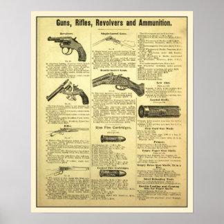 Armas rifles revólveres y munición del anuncio d posters