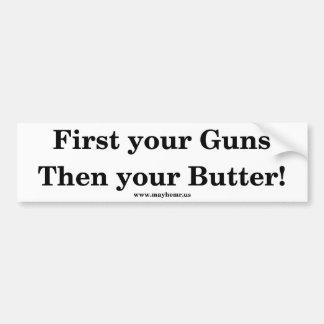 Armas y mantequilla pegatina para auto