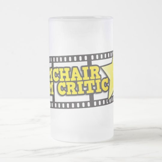 Armchair film critic frosted glass beer mug