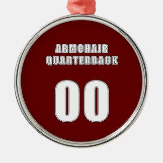 Armchair Quarterback 00 Round Metal Christmas Ornament