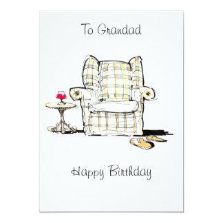 Armchair, Slippers and Wine Birthday Card