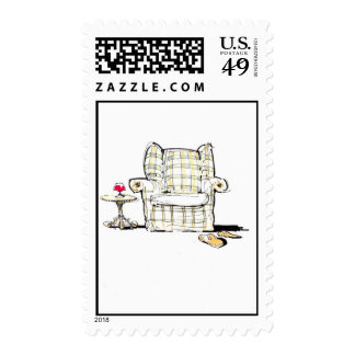 Armchair, Slippers and Wine Postage