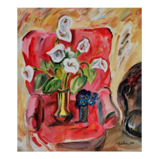 Armchair with flowers by Vasile Movileanu Print