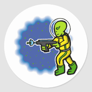 Armed Alien Classic Round Sticker
