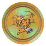 Armed and Dangerous Cat Dinner Plate