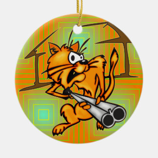 Armed and Dangerous Cat Double-Sided Ceramic Round Christmas Ornament