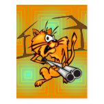 Armed and Dangerous Cat Postcard