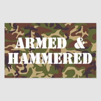 ARMED AND HAMMERED RECTANGULAR STICKER