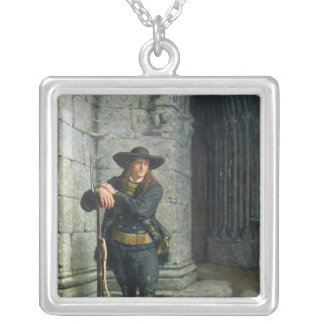 Armed Breton Guarding a Porch Silver Plated Necklace