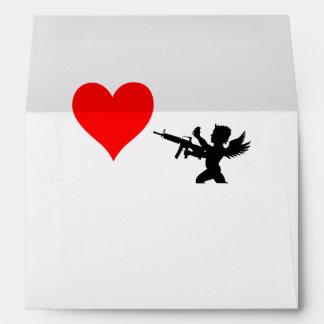 Armed Cupid Destroys Love Envelopes